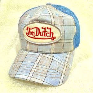 Von Dutch blue/cream plaid trucker hat